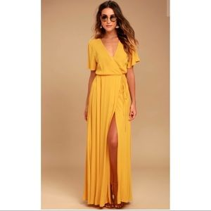 Stunning Golden Yellow Maxi Wrap Dress